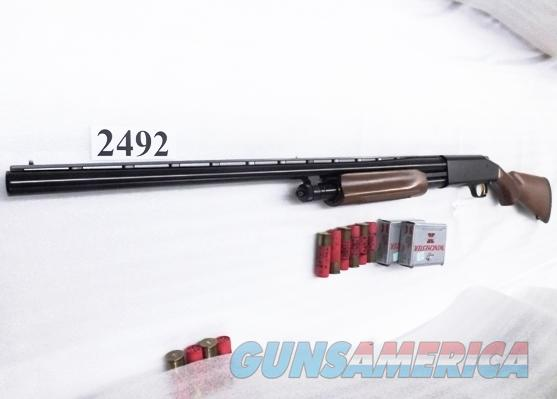 Mossberg 12 gauge model 535 All Purpose Bright Blue & Checkered Hardwood 3 1/2 inch 28 inch Vent Rib Accu-choke 1 Tube 3.5 Crown Grade type Exc Factory Demo 45000 Pump Shotgun  Guns > Shotguns > Mossberg Shotguns > Pump > Sporting