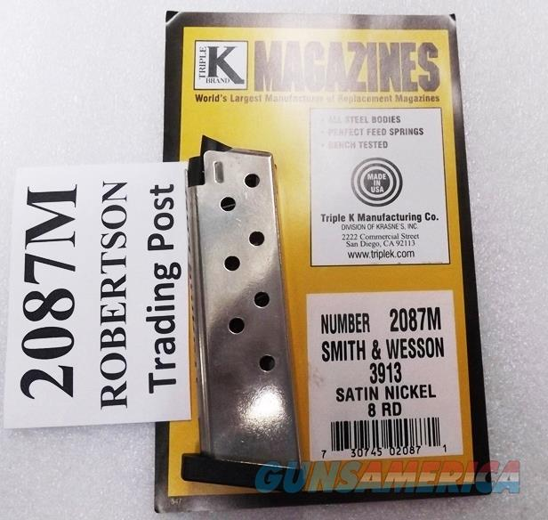 Smith & Wesson 3913 3900 Compact Magazines Triple K 8 Round Nickel Models 3913 3914 3953 908 Flat Plate Triple K Nickel Smith & Wesson 3900 Series 19071 flat plate type NIB Buy 3 ships Free!   Non-Guns > Magazines & Clips > Pistol Magazines > Smith & Wesson