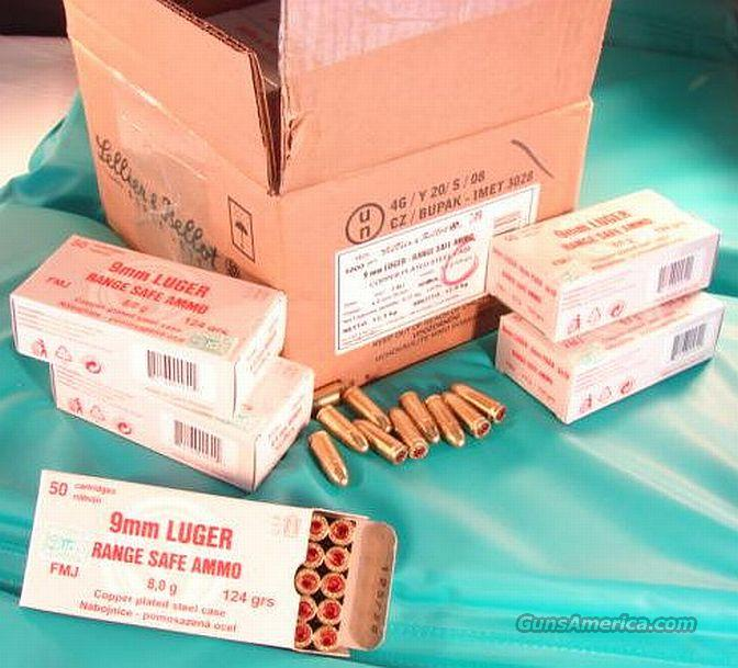 Ammo: 9mm S&B Czech 124 TFMJ Range Safe Brass Steel 1000 Rd Case Lot  Non-Guns > Ammunition
