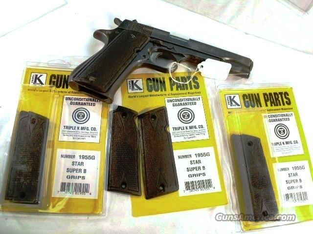 Grips for Star Spain 9mm Model Super B Triple K Ebony Hardwood Diamond Checkered NIB 38 Super 9mm Largo Model B only Not Model B, BM, BKM or BS  Non-Guns > Gunstocks, Grips & Wood