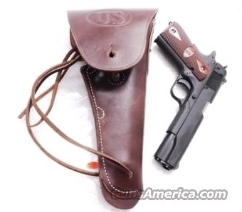 GI style Holster 45 Autos 1911 Pistols New India Dark Brown Leather WWI WWII type GL1101 Colt Government Model 45 Automatic  Non-Guns > Holsters and Gunleather > 1911