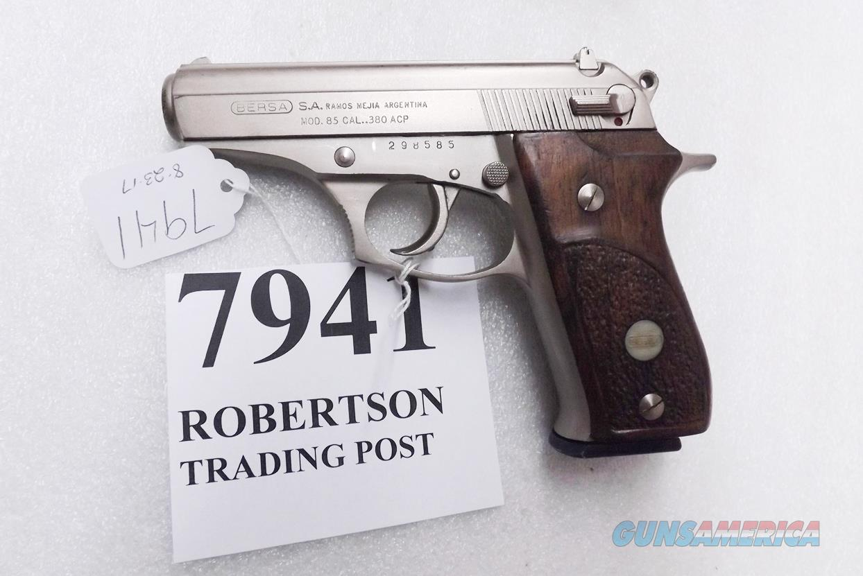 Bersa .380 ACP model 85 Nickel Wood 14 Shot Beretta 84 type Double Action 1994 Production No Lock    Guns > Pistols > Bersa Pistols