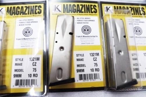 Baby Eagle CZ75 SAR TriStar Compacts 9mm Triple K 10 Shot Magazine Nickel Steel Steel Canik SAR B6 Tri Star C100    Non-Guns > Magazines & Clips > Pistol Magazines > Other