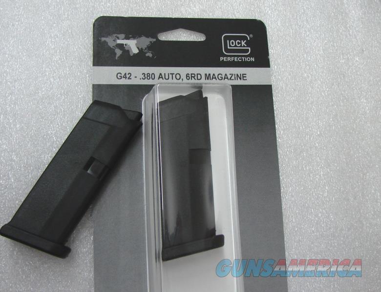Glock 42 .380 ACP Subcompact  Factory 6 round Magazines MF42006 model 42   Non-Guns > Magazines & Clips > Pistol Magazines > Glock
