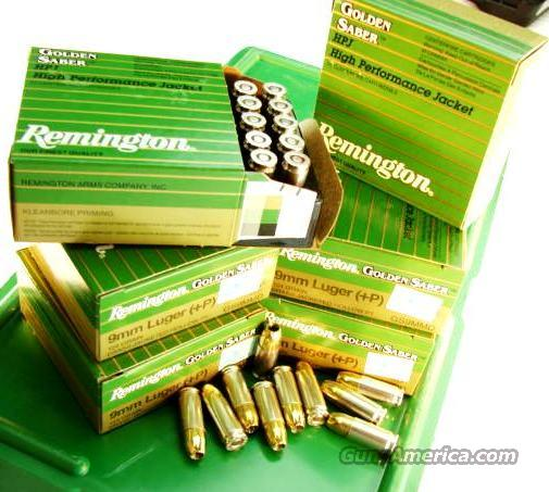 Ammo: 9mm +P Remington Golden Saber 25 Round Boxes 124 grain JHP Bonded Jacketed Hollow Point Flying Ashtray Black Talon type Ammunition Cartridges Luger Parabellum 9x19  Non-Guns > Ammunition
