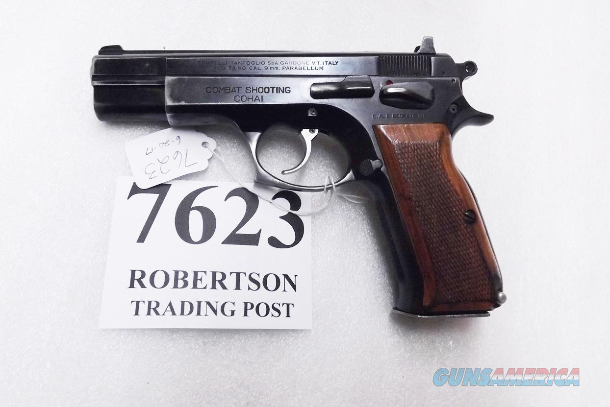 CZ75 Clone Tanfoglio TA90 9mm Witness Israeli Cohai Combat 5 in Blue Walnut 16 Round 1988 Production VG Uses CZ Magazines  Guns > Pistols > EAA Pistols > Other