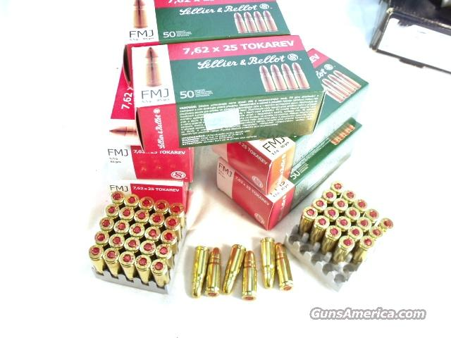 Ammo: 7.62x25 Tokarev S&B Czech 200 Round Lot of 4 Boxes 85 grain FMC 32 Tokarev 762 Ammunition Cartridges  Non-Guns > Ammunition
