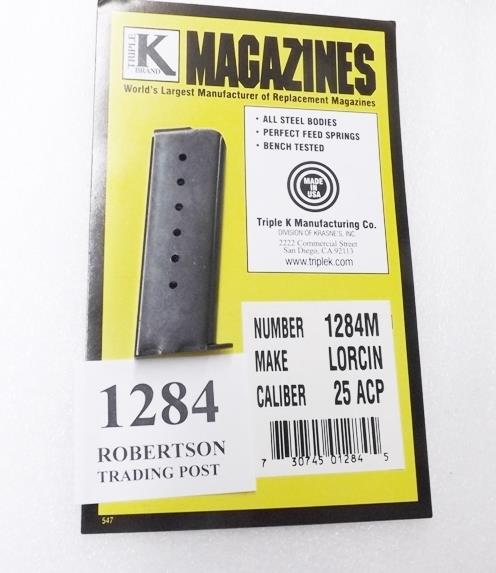Lorcin .25 ACP model L25 Triple K 7 Shot Pistol Magazine 25 Automatic 1284M Blue Steel  Non-Guns > Magazines & Clips > Pistol Magazines > Other