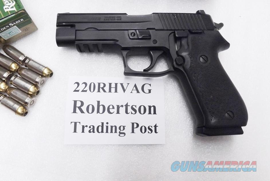 Sig Sauer .45 ACP model P220R German Made 2004 Rail VG-Exc Hogue Grips Original Box 2 New Blue Act-Mag Magazines 9 shot 220R45B + Ammo Offer + Mag Offer   Guns > Pistols > Sig - Sauer/Sigarms Pistols > P220