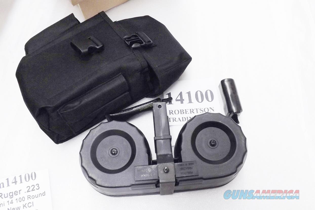 Ruger Mini 14 Drum 100 round .223 C Beta type Double Drum Magazine KCI Korea Black Poly NIB with Pouch   Non-Guns > Magazines & Clips > Rifle Magazines > Mini 14
