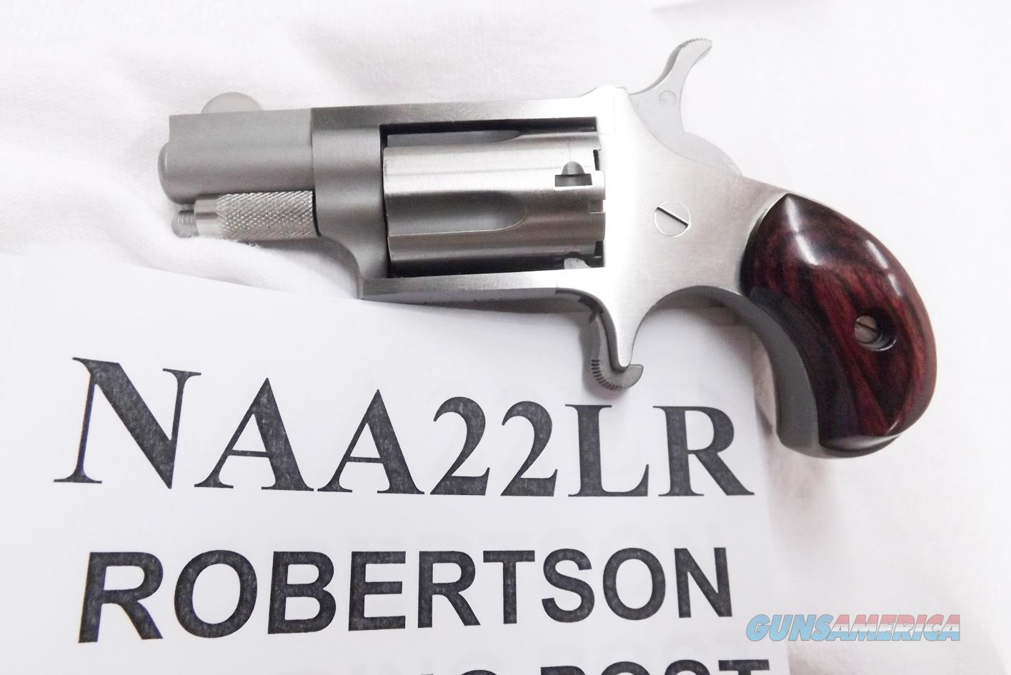 North American .22 LR Mini Revolver 1 inch Snub Stainless 5 Shot NIB Steel Locking Case NAA22LR NAA Arms Manufacturing 22 Long Rifle CA DC OK Choice of Grips  Guns > Pistols > North American Arms Pistols