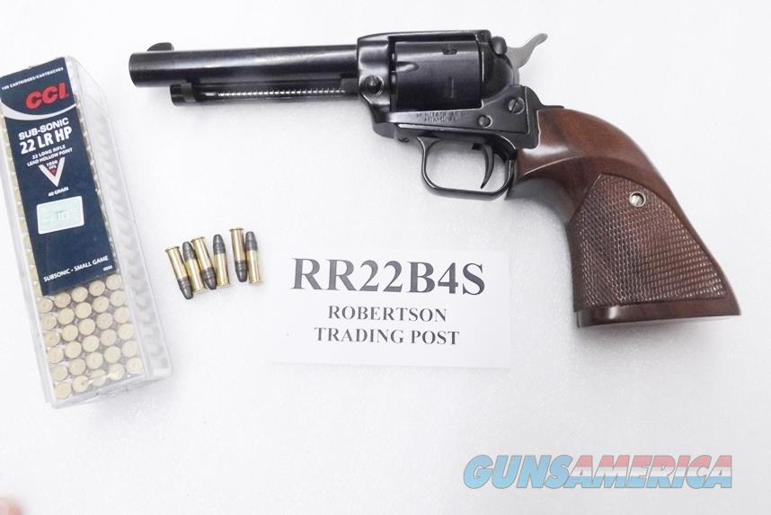 Heritage .22 LR Colt Scout Copy Rough Rider 4 3/4 inch Blue Single Action 6 Shot Lever Safety Walnut Target Grips CA OK  Guns > Pistols > Heritage