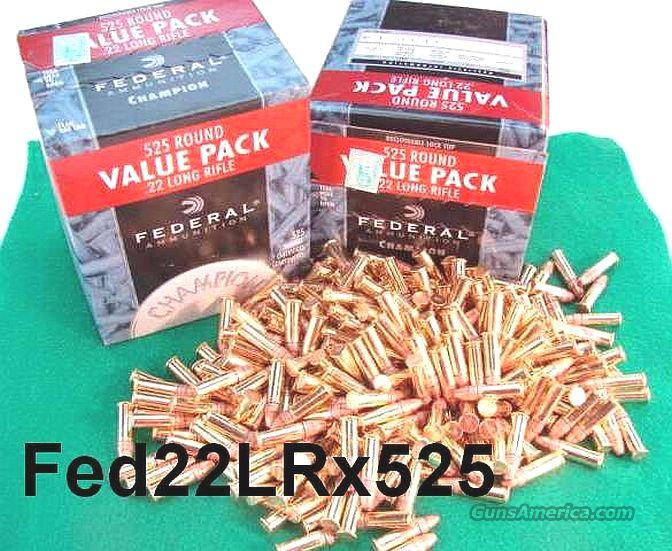 Ammo: .22 LR Federal Champion HP Bulk Pack 525 round Brick Case Lots Available  Non-Guns > Ammunition