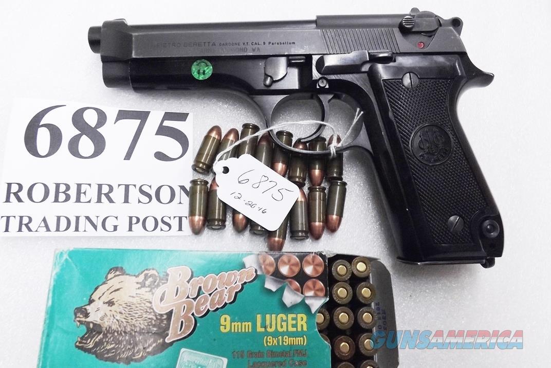 Beretta 9mm model 92S Italy Military Police Italian Carabinieri VG JS92F300M type / ancestor c1978 w1 15 round Magazine Factory Gloss Anodized Frame, Oxide Finish Slide & Blue Barrel VGOB  Guns > Pistols > Beretta Pistols > Model 92 Series