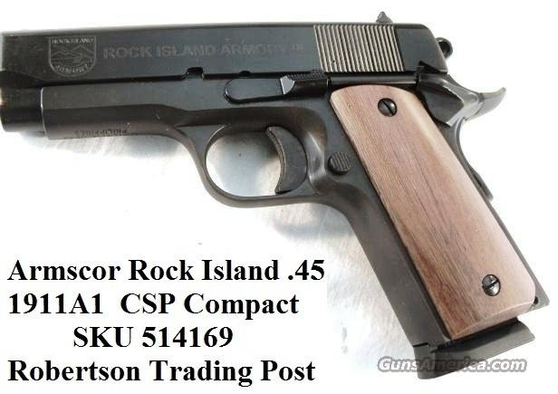 Rock Island 1911 .45 Compact Armscorp 3 1/2 in Blue NIB Colt Officer's ACP copy Detonics descendant 45 Automatic  Guns > Pistols > Armscor Pistols