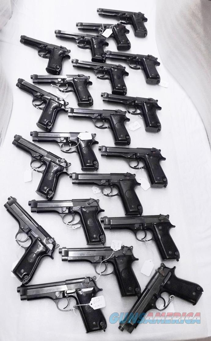 20 Beretta 9mm model 92S Pistols Italy Military Police Italian Carabinieri Very Good Condition  JS92F300M type / ancestor c1978 w1 15 round Magazine each Factory Gloss Anodized Frame, Blue Barrel & Slide VGB 10 Pistols at $249 Per  Guns > Pistols > Beretta Pistols > Model 92 Series
