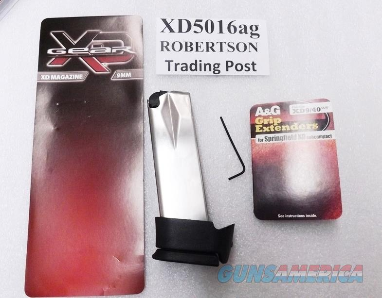 Springfield Armory XD9 Sub Compact 9mm Factory 16 Round Extended Magazines with A&G Adapter High Capacity Stainless BUY 3 SHIPS FREE!  Non-Guns > Magazines & Clips > Pistol Magazines > Other