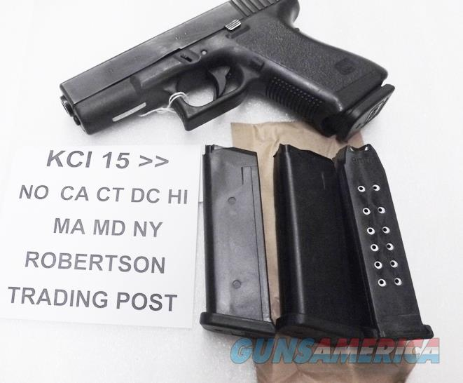 Glock 19 Magazines 9mm KCI 15 Shot Free Falling Steel Inner Liner 4th Generation OK New Fits models 19 26 Buy 3, and shipping is free!   Non-Guns > Magazines & Clips > Pistol Magazines > Glock