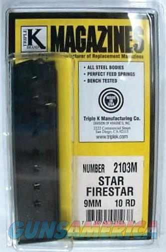 Star M43 Firestar Compact 9mm Pistol Magazine Extension 10 Shot Blue Steel New Triple K manufacture Model 43 only NOT for Firestar Plus Protrudes from the Grip Frame Buy THREE Ships FREE!  Non-Guns > Magazines & Clips > Pistol Magazines > Other