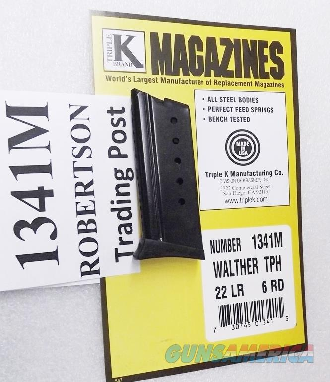 Walther model TPH .22 LR  Pistol Triple K 6 Shot Magazine New Ported Blue Steel 1341M with Polymer Finger Rest  Non-Guns > Magazines & Clips > Pistol Magazines > Other