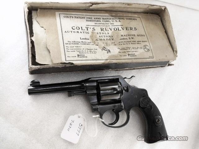 Colt .38 S&W / New Police Caliber Police Positive 4 inch Excellent with Original Box Manufactured 1914 Joplin MO Domicile  Guns > Pistols > Colt Double Action Revolvers- Modern