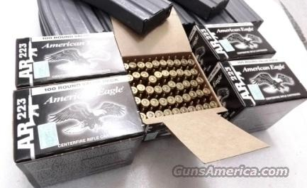Ammo: .223 Federal 25 Box Equivalent Factory Case of 500 rounds 55 grain FMC Full Metal Case Jacket American Eagle Ammunition Cartridges AE223BL $7.96 per box 40 cents a round  Non-Guns > Ammunition