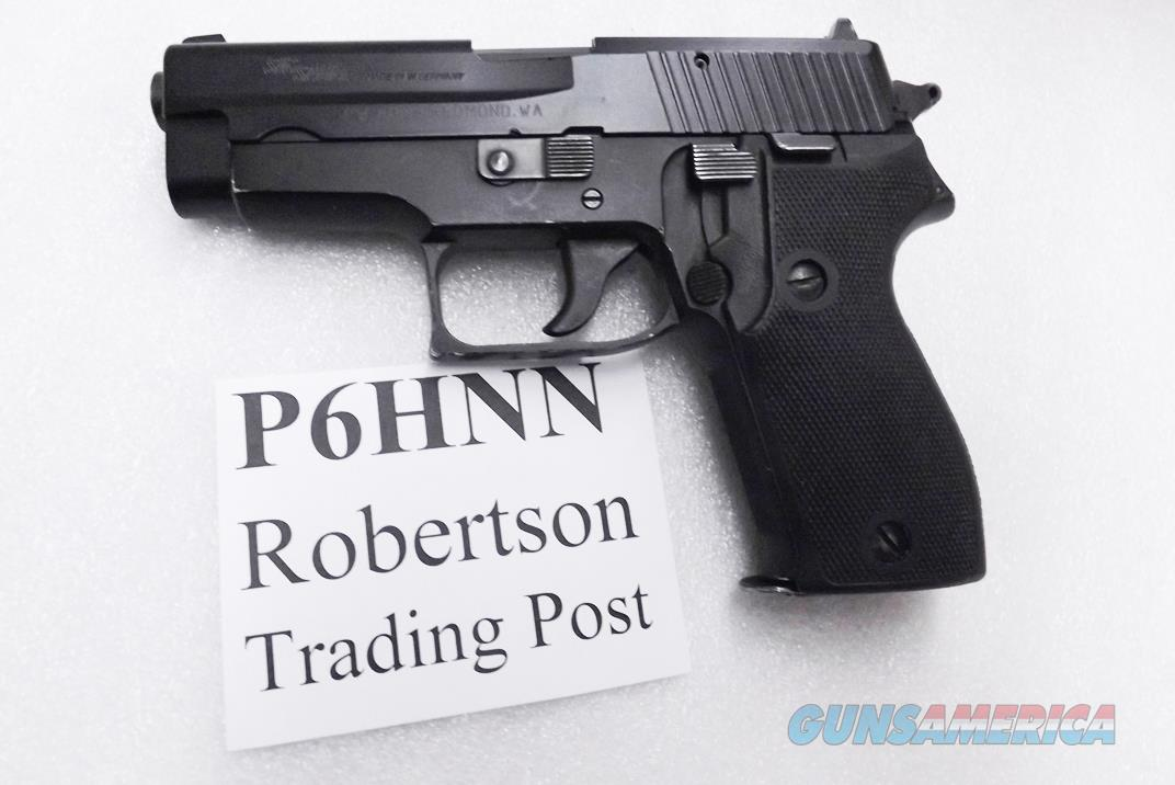 Sig Sauer 9mm model P6 / P225 West German Police Black Ice Teflon Slide Refinish New Factory Barrel Hook Hammer 9 Shot with Dovetailed Magazine VG-Exc P6HNN CA OK   Guns > Pistols > Sig - Sauer/Sigarms Pistols > P239