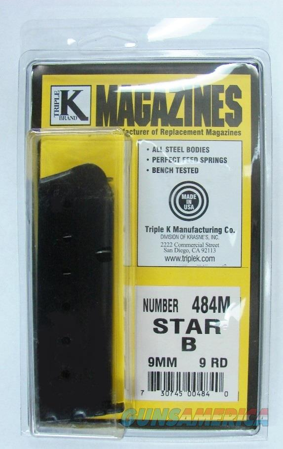 Star 9mm Model B 9 Shot Magazine Older Models with Slotted Grip Frame Mag Well Variant 9 Round Blue Steel Triple K NIB 484M Buy Three Ships FREE!  Non-Guns > Magazines & Clips > Pistol Magazines > Other