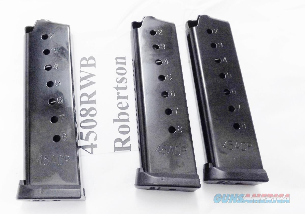 3 Colt 1911 Government .45 ACP RWB 8 round Blue Steel Magazines $17 each & free ship lower 48 CG4508PFB competitor New Black Coated 45 Automatic Govt Model Pistols Armscor Kimber   Non-Guns > Magazines & Clips > Pistol Magazines > Other