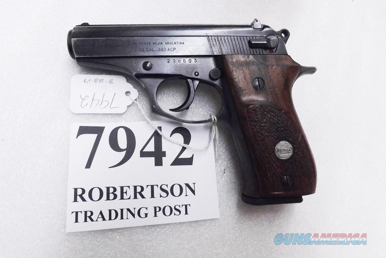 Bersa .380 ACP model 85 Blue Wood 14 Shot Beretta 84 type Double Action 1993 Production No Lock Israeli VG Fitted Mec-Gar  Guns > Pistols > Bersa Pistols