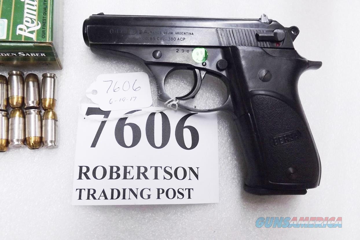 Bersa .380 ACP model 85 Rubber Grips 14 Shot Beretta 84 type Double Action 1993 Production No Lock Israeli  Guns > Pistols > Bersa Pistols