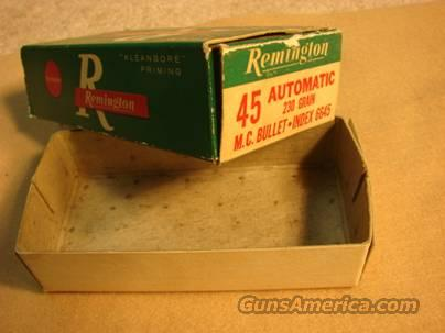 Ammo Box: Remington .45 ACP Green Box 1960s Blem 45 Automatic Full Metal Case  Non-Guns > Collectible Cartridges