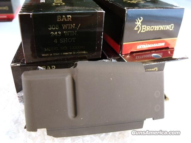 Browning BAR Factory 4 Shot Magazines for .243 .308 calibers Old Model Pre 1994 B.A.R. Short Action No Mk II Browning Automatic Rifle Pre-Mark II Long Action 243 308 1320091 Buy 3 Ships Free!   Non-Guns > Magazines & Clips > Rifle Magazines > Other
