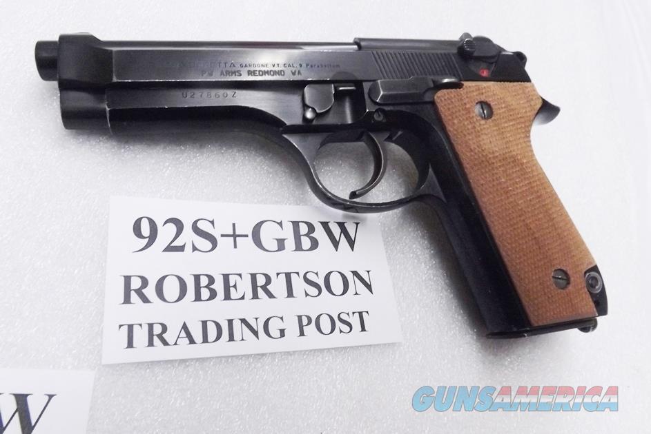 Beretta 9mm model 92S Italian Military Police VG+ Gloss Blue & Walnut JS92F300M type / ancestor c1978 w1 15 round Magazine Factory Gloss Anodized Frame, Blue Barrel & Slide +GB Herrett's Grips  Guns > Pistols > Beretta Pistols > Model 92 Series