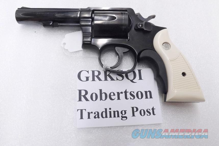 S&W K or L Frame Square Butt Imitation Ivory Revolver Grips for Smith & Wesson models 10 15 19 64 65 66 with Medallions GRKSQI Smith & Wesson Smooth Magna Small Type with Screw & Escutcheon  Non-Guns > Gunstocks, Grips & Wood