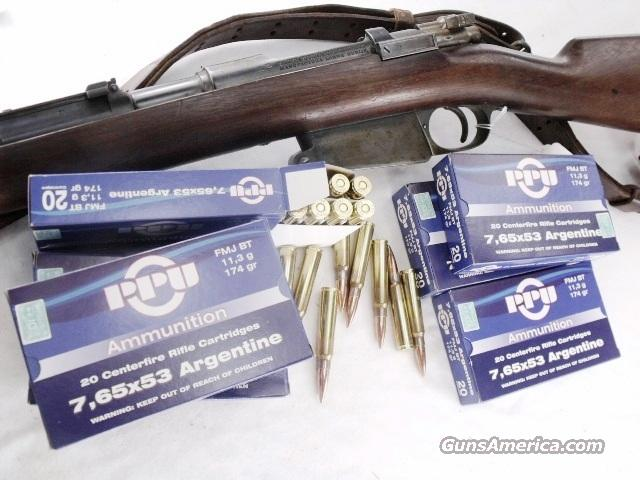 Ammo: 7.65x53 Argentine 174 grain FMC 80 Round Lots of 4 Boxes Prvi Partizan TR&Z Brass Case 765 Argentina Mauser Full Metal Jacket FMJ Ammunition Cartridges  Non-Guns > Ammunition