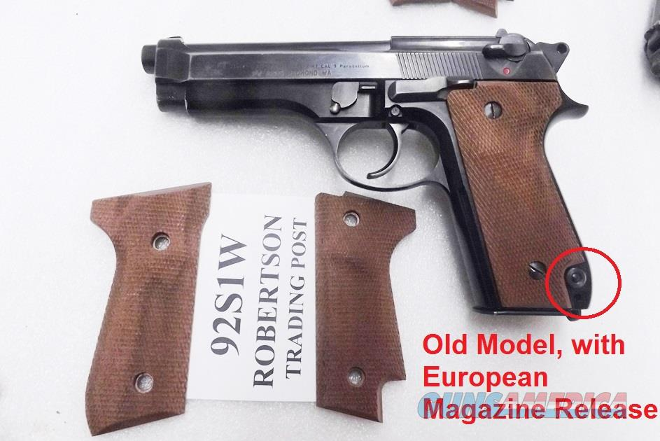 Beretta 92S Grips Herretts Walnut Checkered Palmswell 92S Only with European Magazine Release NO GO on 92F No 92FS Fit old model Berettas Only Buy 3 Ships Free!   Non-Guns > Gunstocks, Grips & Wood