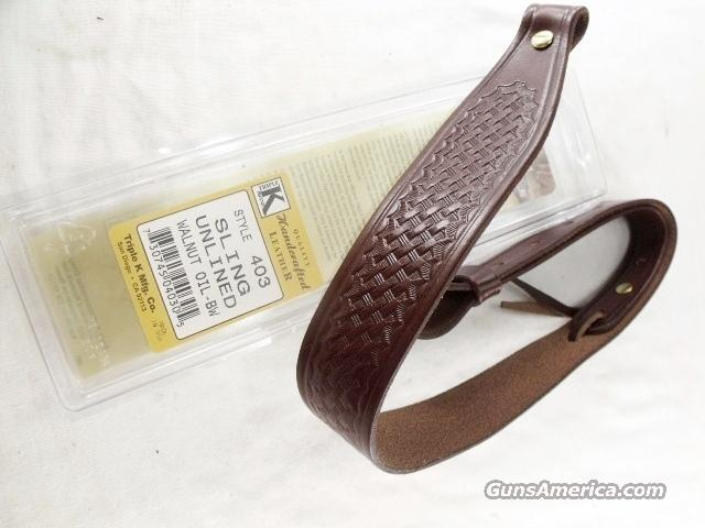 Rifle Sling US Leather Brown Basket Weave Triple K Walnut Oil Finish GL4030  Non-Guns > Gun Cases