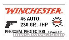 Ammo: .45 ACP Winchester 230 JHP 50 Round Boxes 45 Automatic Jacketed Hollow Point Ammunition Cartridges   Non-Guns > Ammunition