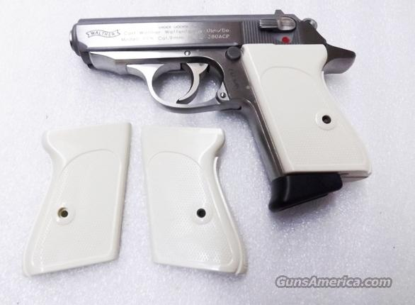 Walther PPK Grips Smith & Wesson variants White Polymer Imitation Ivory No PPKS No PP Screw Not Included adaptable to German & Interarms  Non-Guns > Gunstocks, Grips & Wood