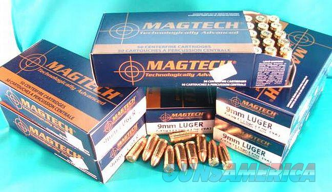 Ammo: 9mm Mag-Tech 115 grain FMC 500 Round Half Case Lots of 10 Boxes $11.90 per Box of 50 Ammunition Cartridges 9x19 Luger Parabellum NATO Magtech Brass Case   Non-Guns > Ammunition
