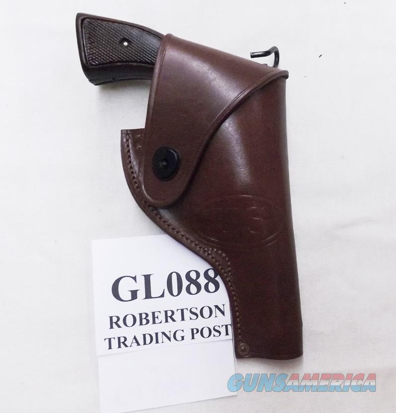 US GI Replica Holster S&W .38 Victory Colt OP WWII type 088 Half Flap Brown Leather Victory Government Issue type ALICE Compatible   Non-Guns > Holsters and Gunleather > Revolver