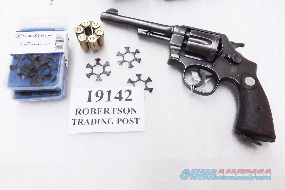 Smith & Wesson .45 ACP Factory Full Moon Revolver Clips Model 1917, 25-2 type S&W 19142 Package of 4 Clips SHIPS FREE On 3!  Non-Guns > Magazines & Clips > Pistol Magazines > Smith & Wesson