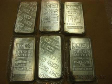Silver: 6 Bar Lot of 10 Oz JM Fine Silver Bars = 60 Troy Oz  Non-Guns > Curios