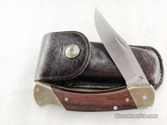 Schrade U.S. LB-7 Folding Hunter + Uncle Henry Stainless Steel Brass Bolsters Walnut Leather Excellent ca. 1980s Made in USA not China Buck 110 type LB7 Lo ck bl ade  Non-Guns > Knives/Swords > Knives > Folding Blade > Imported