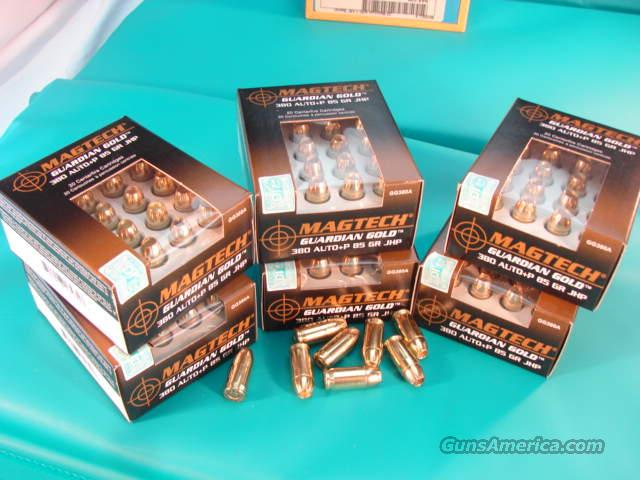 Ammo: .380 ACP Mag-Tech 120 Round Lot of 6 Boxes 85 grain Guardian Gold Hollowpoint Flying Ashtray Black Talon type 1082 fps  Non-Guns > Ammunition