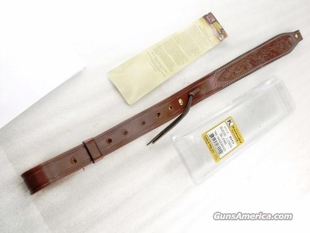 Rifle Sling US Leather Hand Carved Suede Lined Tan Stitched Triple K GL6004  Non-Guns > Military > Web Gear