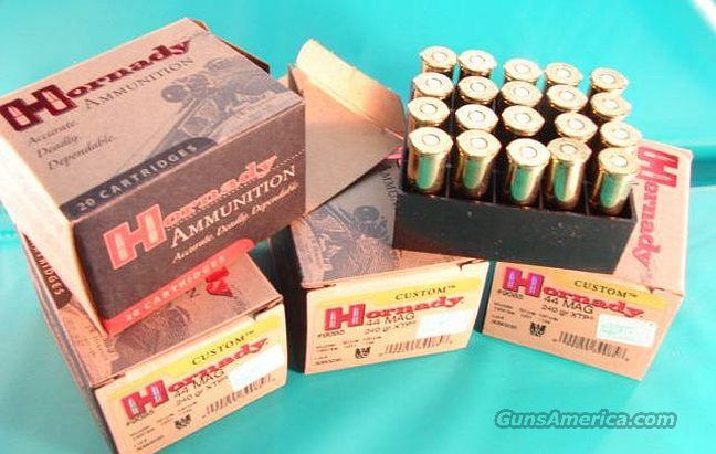 Ammo: .44 Magnum Hornady 100 Round Lot of 5 Boxes 240 grain XTP Hollow Point 44 Remington Magnum Caliber Ammunition Cartridges  Non-Guns > Ammunition