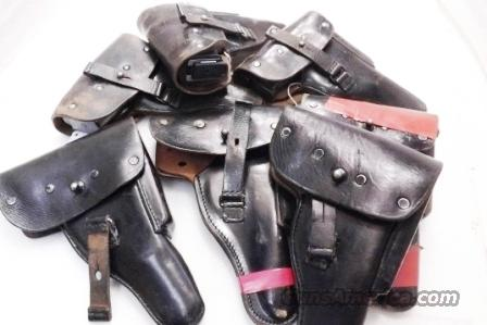 Walther P38 or P1 Germany Holster Black Leather Flap Meyer Germany ca 1960 West German Federal Police Cold War Issue   Non-Guns > Holsters and Gunleather > Police Belts/Holsters