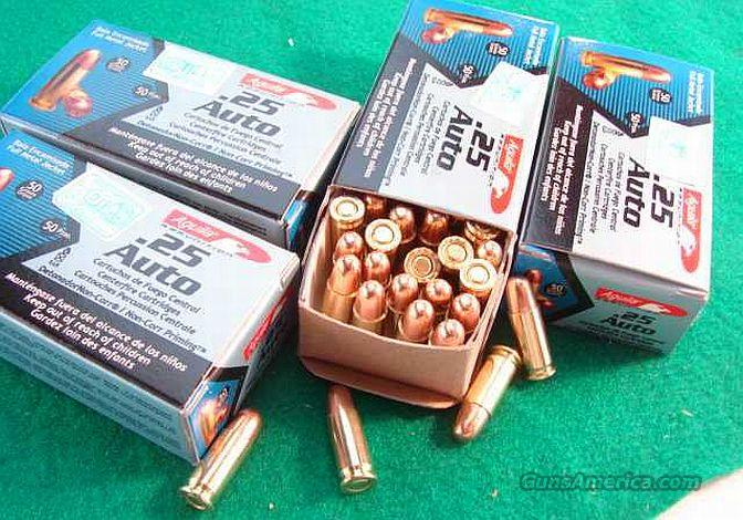 Ammo: .25 ACP Aguila Mil-Spec 50 gr FMC 50 round Boxes Case Lots Available 25 Automatic Full Metal Case Jacket Ammunition Cartridges  Non-Guns > Ammunition